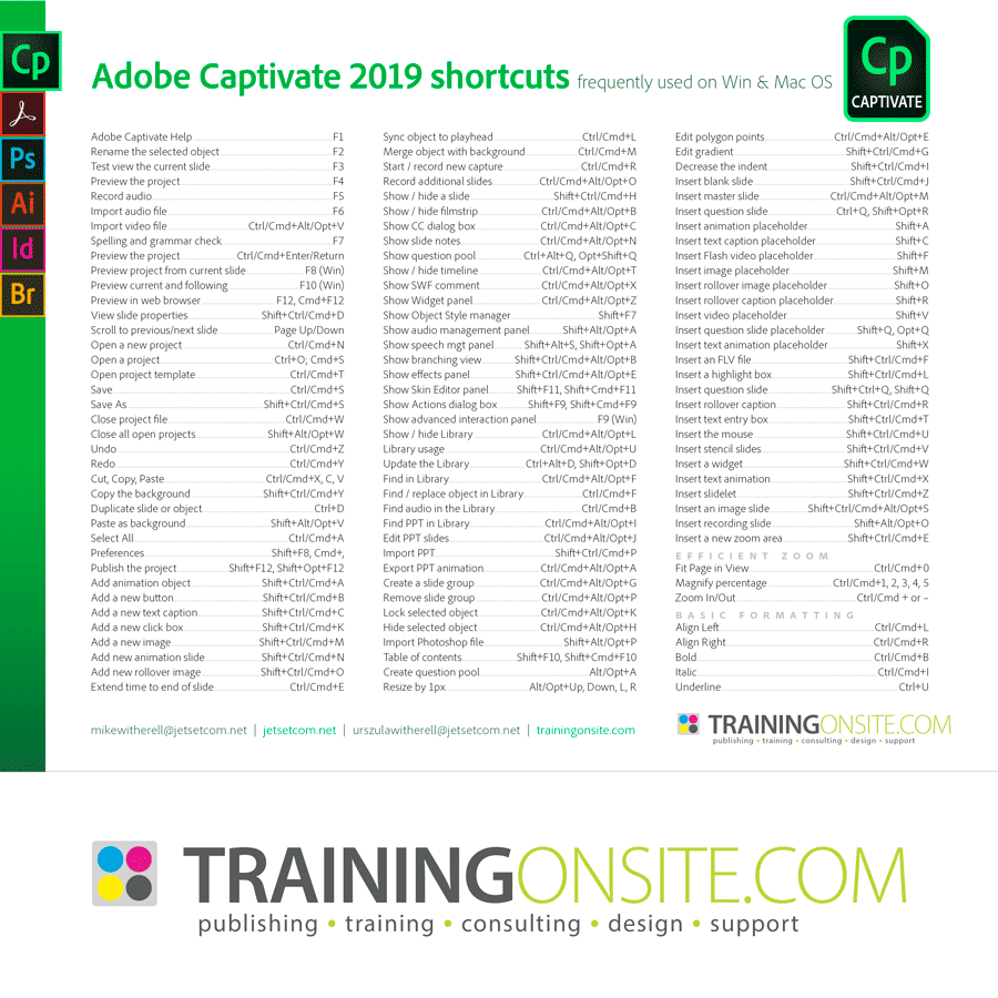 Captivate 2019 keyboard shortcuts