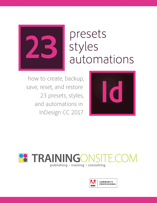 InDesign CC 2017 23 presets styles automations