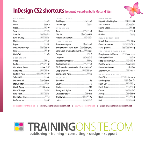 InDesign CS2 frequently-used keyboard shortcuts