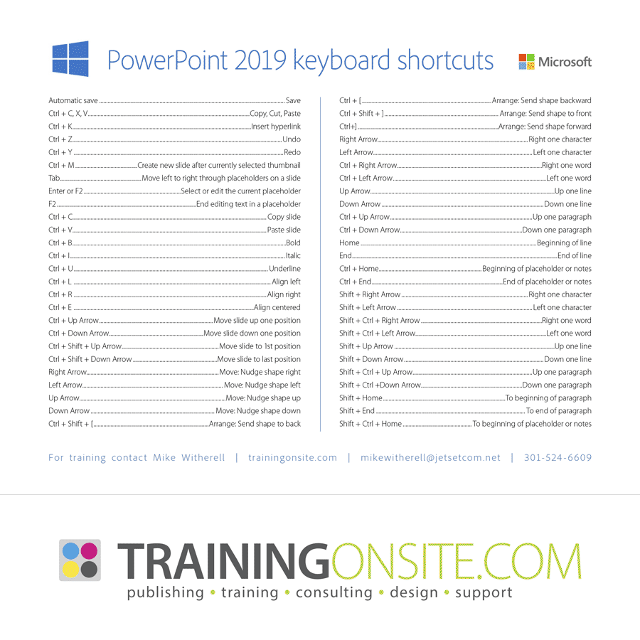 PowerPoint 2016 keyboard shortcuts