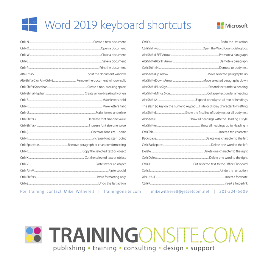 Word 2016 keyboard shortcuts